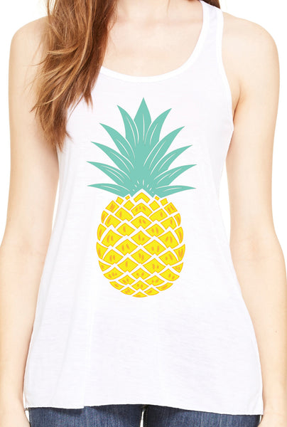 Women's Pineapple Flowy White Racerback Tank