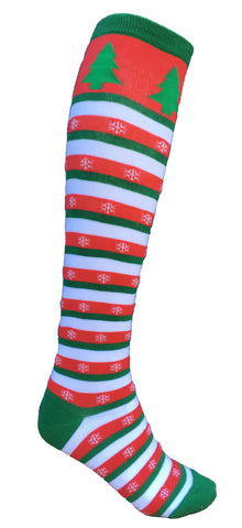 Christmas Stripped Knee Socks