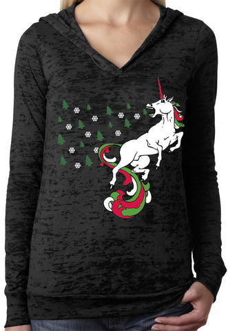 Christmas Unicorn Black Holiday Burnout Hoody