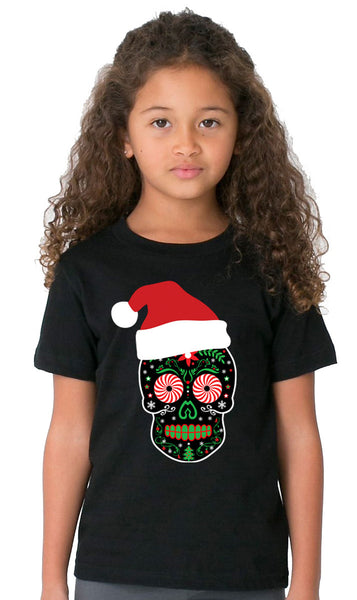 Youth Santa Skull Black Tshirt