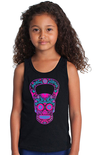 Youth  Kettlebell Skull Black Tank Top