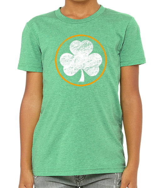 Youth and Toddler St. Patrick's Day Tri Blend Circle Shamrock Tshirt
