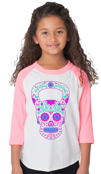 Youth Sugar Skull Henley Pink