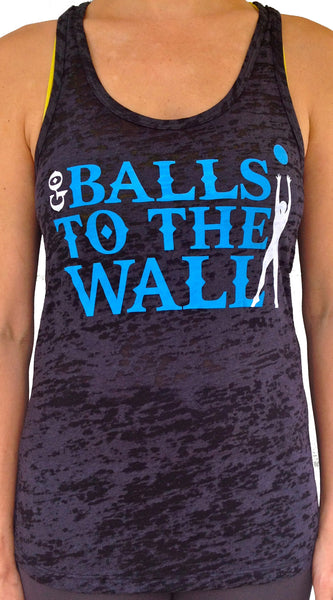 Go Balls to the WALL Black Burnout Tank with Blue and White