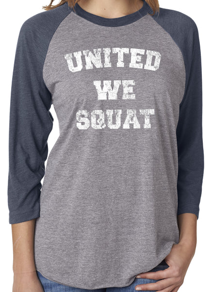 United We Squat Navy Unisex 3/4 Sleeve Tri Blend Raglan