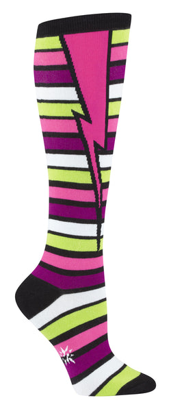 SALE - Pink Lighting Bolt Knee Socks