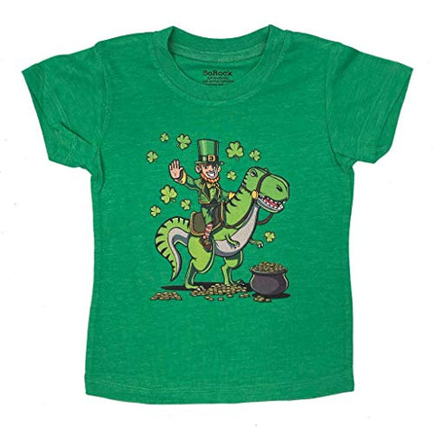 St. Patrick's Day Dinosaur Kids T-Shirt/or Unisex 3/4 Sleeve Baseball Tee
