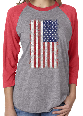 USA American Flag Distressed Unisex 3/4 Sleeve Red Tri Blend Raglan