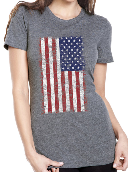 Women's USA American Distressed Flag Grey Tri Blend T-Shirt