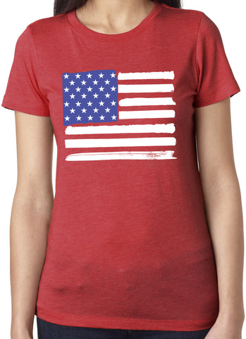 USA American Flag Red Tri Blend T-Shirt
