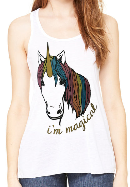 Magical Glitter Unicorn Flowy White Racerback Tank