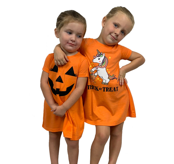 Halloween Glitter Pumpkin Orange Toddler & Baby T-Shirt Dress