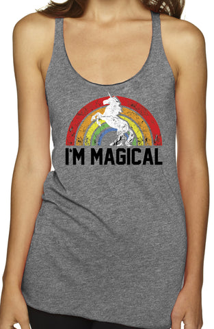I'm Magical Grey Rainbow TriBlend Tank Top