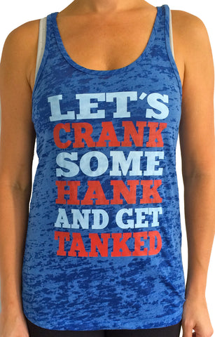 Crank Some Hank Royal Blue Burnout Tank Top