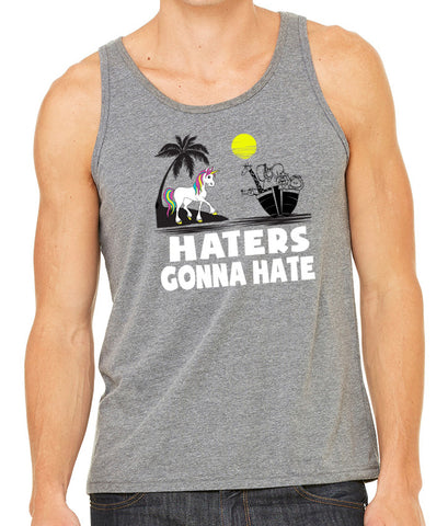 SALE - Mens Haters Gonna Hate Grey Tri Blend Tank Top