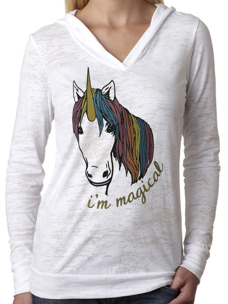 Magical Glitter Unicorn White Burnout Hoody