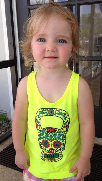 Youth Kettlebell Skull Yellow Tank Top