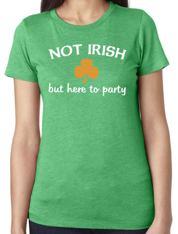 Not Irish But Here To Party Tri-blend Scoop Neck Green