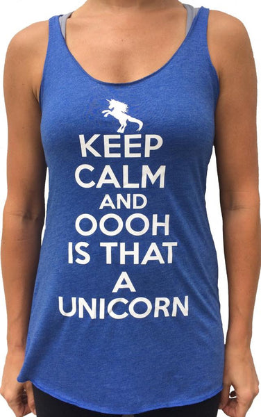 Keep Calm And Unicorn Royal Blue TriBlend Tank