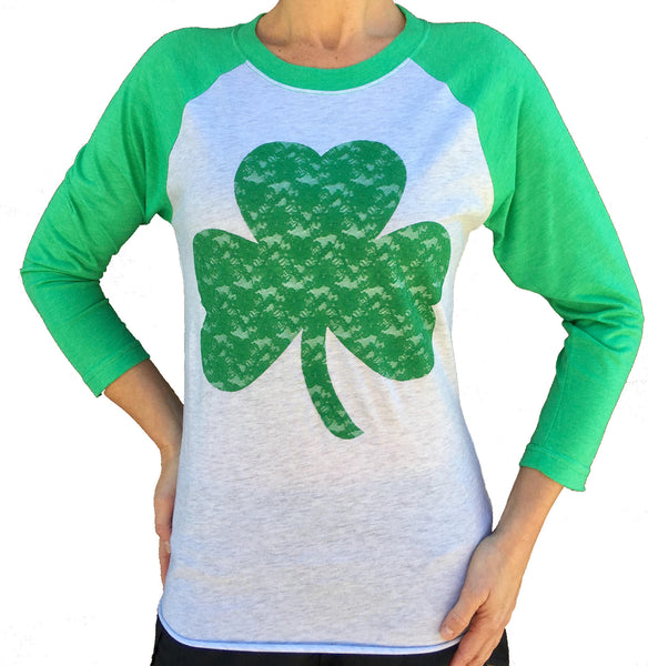 St. Patrick's Day Lace Shamrock Green Unisex 3/4 Sleeve Tri Blend Raglan