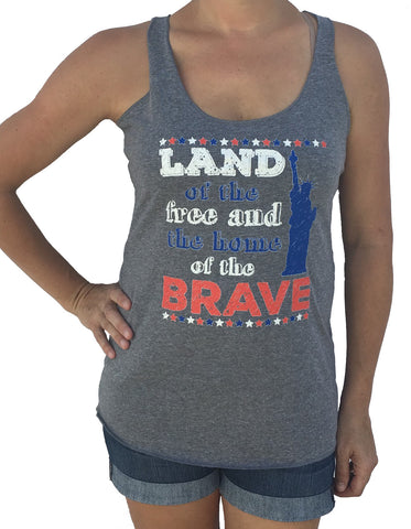 USA Land Of The Free 4th Of July Tri Blend Grey Tank
