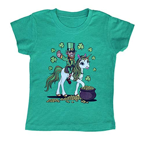Kids/Girls/Youth Leprechaun Riding a Unicorn St. Patrick's Day T-Shirt