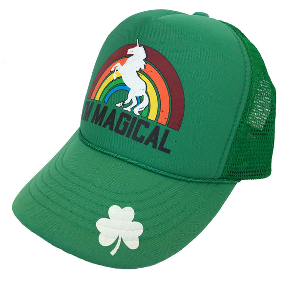 Youth St. Patrick's Day Magical Shamrock Unicorn Trucker Hat Green