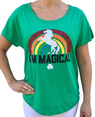 St Patricks Day I'm Magical Unicorn Green Dolman Tshirt
