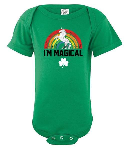 Infant Onesie Tri Blend St. Patrick's Day I'm Magical Unicorn