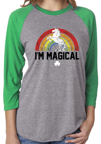 St. Patrick's Day I'm Magical Rainbow Green Unisex 3/4 Sleeve Tri Blend Raglan