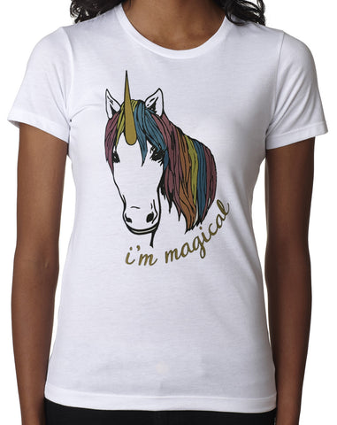 Women's Magical Glitter Unicorn Tshirt White Crew Neck