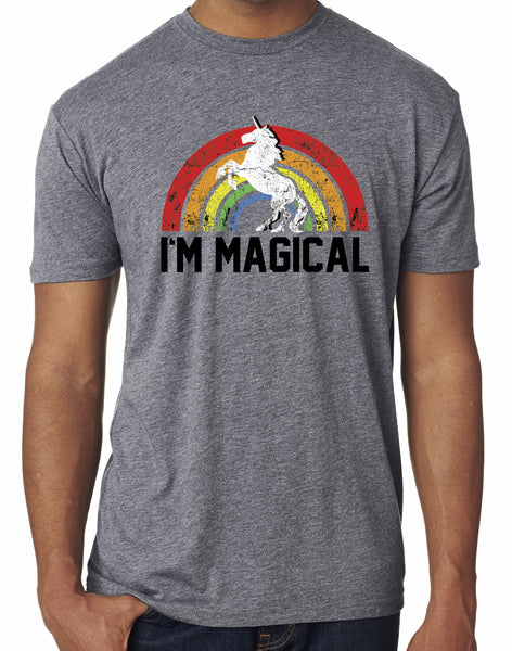 Mens I'm Magical Grey Rainbow Triblend Tshirt