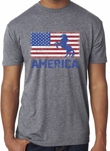 Mens USA American Unicorn Flag Grey Triblend Tshirt