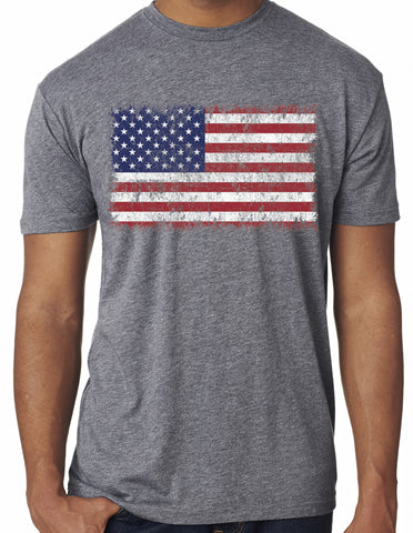 Mens USA American Distressed Flag Grey Triblend Tshirt