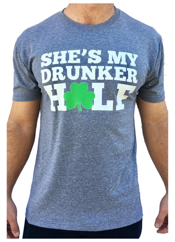 Mens St. Patrick's Day My Drunker Half Triblend Tshirt Grey