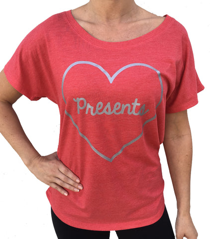 Christmas I Love Presents Red Dolman Tshirt