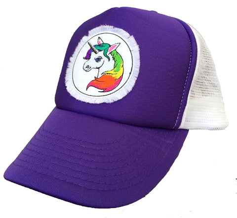Unisex Unicorn Trucker Hat Purple