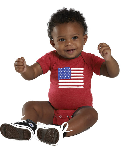 Infant Onesie Red American Flag
