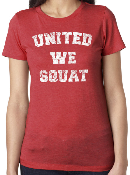 United We Squat Red Tri Blend Crew Neck