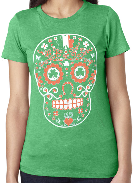 St. Patricks Day Sugar Skull Green Tri Blend Crew Neck