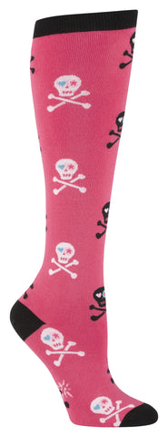 Girl's Pink and Black Skull Knee Socks