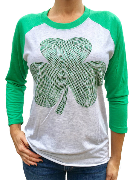 Studded Shamrock Green with White 3/4 Sleeve Tri Blend Raglan