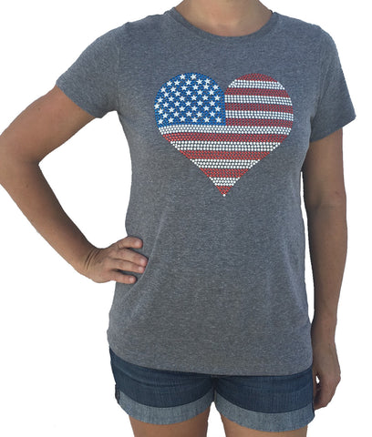 USA Studded Flag Heart Grey Tri Blend T-Shirt
