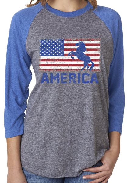 USA American Flag Unicorn Unisex 3/4 Sleeve Royal Blue Tri Blend Raglan