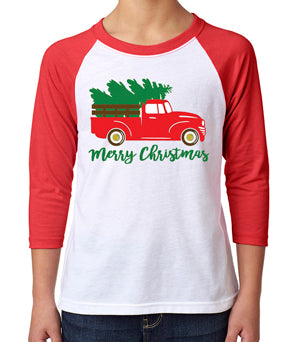 Toddler & Baby  3/4 Sleeve Raglan Rustic Christmas Truck Red