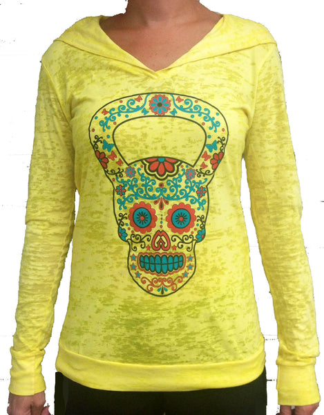 Kettlebell Skull Yellow Burnout Hoody