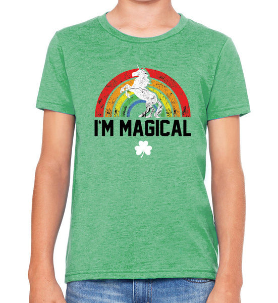 Youth Tri Blend St. Patrick's Day I'm Magical Unicorn Tshirt