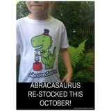 dino kids tee tshirt toddler cute funny prehistoric dinosaur abracadabra abracasaurus childrens shirt apparel clothing made in usa magician bunny abracasaurus top hat magic magic trick adorable jurassic prehistoric