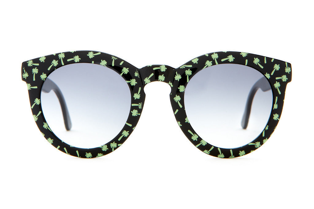 The T.V. Eye - Gloss Black w/ Green Palms- w/ Grey Gradient CR-39 - Sunglasses