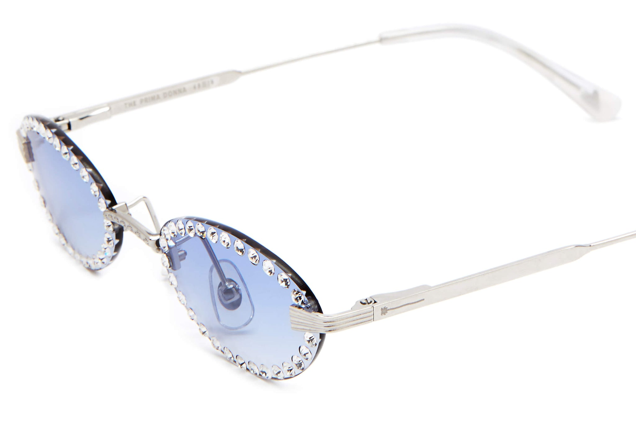 The Prima Donna by Emma Chamberlain - Polished Silver & Pearl - / Blue Gradient - Sunglasses